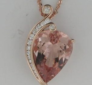 13.90ct morganite pendant in 14kt rose gold with 16 diamonds =.50ct style 907-0002 $5200.00