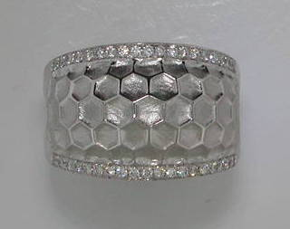 Honeycomb ring in sterling silver with 38 diamonds =.28ct  style 321-0050  $1250.00
