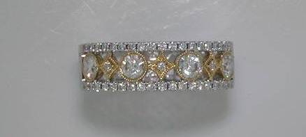 Diamond ring 18kt two-tone gold with 45 diamonds=.80ct  style 135-0086  $3000.00