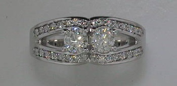.66ct 2 stone ring in 14kt white gold with 32 diamonds = .27ct  style  720-0154  $3600.00