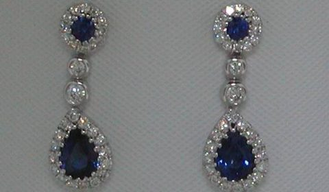 .91ct sapphire earrings 18kt white gold with 60 diamonds =.35ct and 4 sapphires.  Style 223-0183 $3200.00
