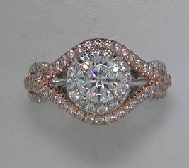 semi engagement ring in 14kt white and rose gold =.80ct    style 405-0184  $3750.00