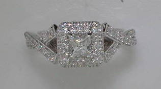 semi engagement ring in 14kt two tone white and rose gold =1.03ct style 405-0247  $4000.00