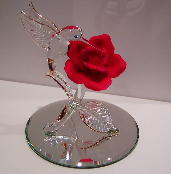 Crystal & Porcelain Hummingbird and Rose style 800-1136 $65.00