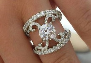 14kt white gold split shank semi mount engagement ring diamonds = 1.34ct  style er12419  $6650.00