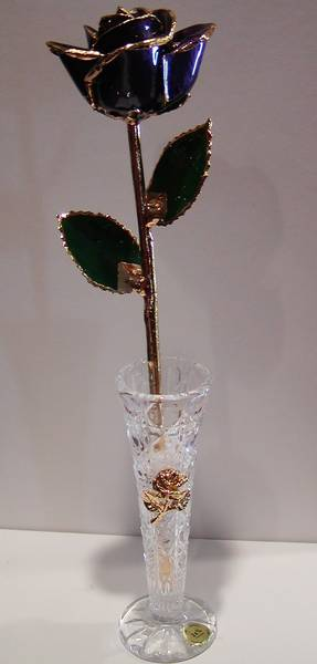 Genuine Purple Rose dipped in 24 kt. Gold style 645-0294 $ 79.95