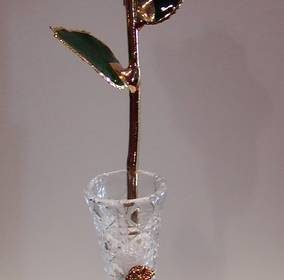 Genuine Red Rose dipped in 24 kt. Gold with vase. style 645-0303 $95.00