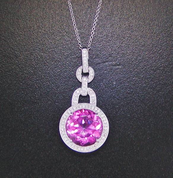 9.05ct pink topaz pendant 18kt white gold with diamonds=.25ct Style 500-2048 $2000.00