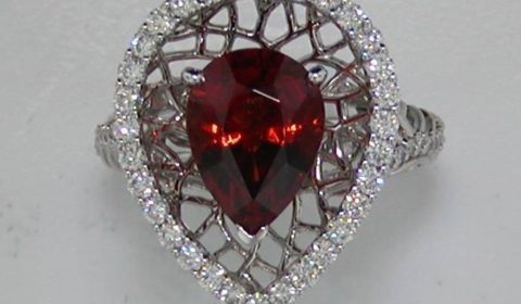 3.73ct orange garnet ring 18kt white gold with 51 diamonds=.70ct style 500-2221 $4500.00