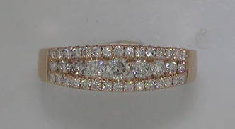 3 row wedding ring.  14kt rose gold. 1 diamond =.13ct and 38 diamonds =.64ct  style 28633-R  $2600.00