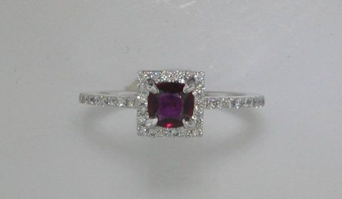 .51ct ruby ring in 14kt white gold.  38 diamonds = .30ct Style 135-0088 $2000.00