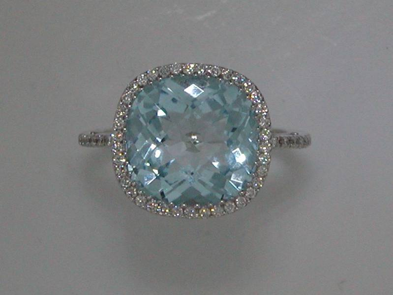 7.46ct blue topaz ring in 18kt white gold with 50 diamonds =.23ct Style 223-0086 $2200.00