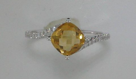 1.30ct citrine checkerboard cut ring in 14kt white gold with 22 diamonds = .11ct Style 950-0052 $800.00