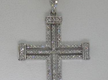14kt white gold cross pendant with 152 diamonds = .39ct  style 500-2187 $1750.00
