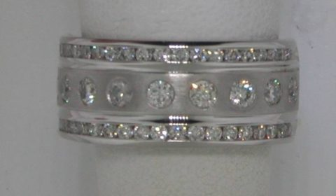 14kt white gold wedding band with 51 diamonds =1.00ct  style 200-0601  $3800.00