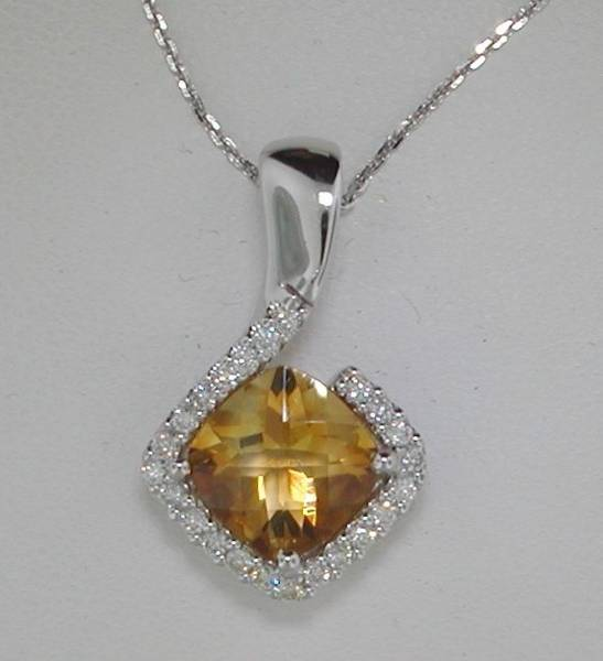 14kt white gold pendant with 18in chain, 2.95ct citrine and 23 diamonds =.30ct Style 650-0021 $1450.00
