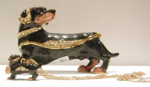 Dapper Dachshund Enameled figurine with matching necklace style 635-0693 $57.50