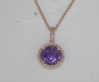 1.32ct amethyst pendant set in 14kt rose gold with 32 diamonds =.08ct with a 16in chain Style 270-0054 $475.00