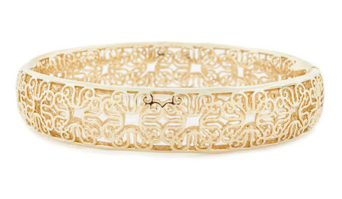 Andrew Hamilton Crawford hinged bangle bracelet comes in yellow gold, sterling silver or black.  style S157  $150.00