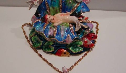 The Cradle Enameled figurine with matching necklace style 635-0219 $80.00