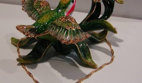 The Hummingbird Enameled figurine with matching necklace  style 635-0688 $75.00