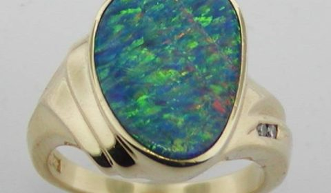 black opal doublet ladies ring in 14kt yellow gold style 610-0149 $1225.00