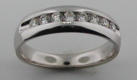 channel set polished mans wedding band 14kt white gold .50ct   style 200-0654  $2000.00