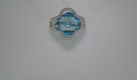 Blue topaz clover ring set in sterling silver style 162-0001  $525.00