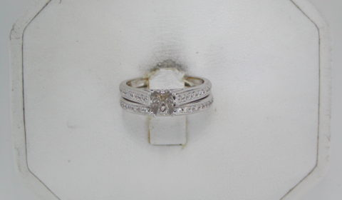 Semi-mount bridal set, set in 14kt white gold with 43 diamonds =.33ct  style 475-0002  $3500.00