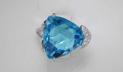 16.40ct blue topaz ladies ring in 14kt white gold with 64 diamonds =.32ct   style 127-0004  $2250.00