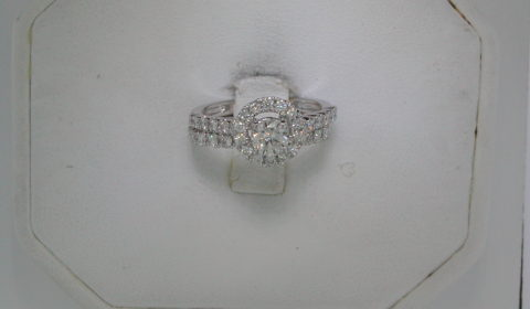 .50ct I-SI1 bridal set, set in 14kt white gold with 39 diamonds =.86ct style 910-0009  $5000.00