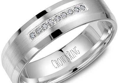 6mm designed wedding band in 14kt white gold with 9 diamonds =.07ct  style 175-0011  $1450.00