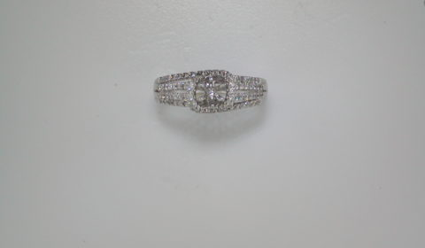 Semi-mount wedding ring set in 14kt white gold with 80 diamonds =.50ct style 135-0023 $1650.00