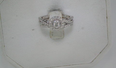 .25ct center diamond halo bridal set with side diamonds =.75ct  style SKR18592-100 $1900.00