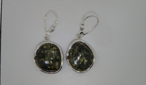 Green baltic amber dangle earrings set in sterling silver style 930-0034  $85.00