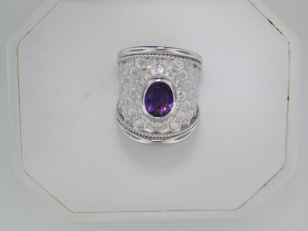 1.36ct amethyst honeycomb ladies ring set in sterling silver with 20 diamonds =.32ct  style 321-0039 $1275.00