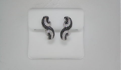 Black and white diamond earrings set in 14kt white gold with 36 white diamonds =.15ct and 70 black diamonds =.30ct  style 223-0046  $1350.00