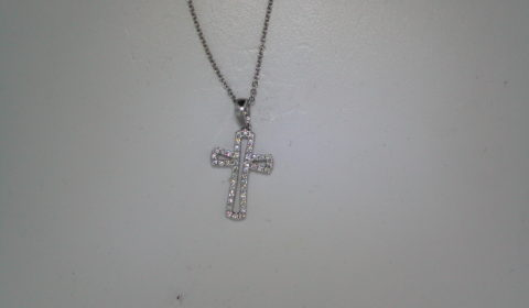 Cross pendant set in 14kt white gold with 42 diamonds =.15ct and 16in cable chain.  style 135-0050  $900.00