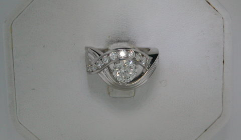 7mm moissanite forever brilliant cut custom made ladies wedding ring set in platinum with 10 round diamonds =.67ct  style 153-0051 $6250.00