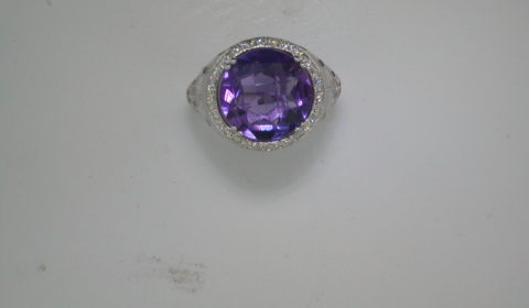 5ct amethyst checkerboard cut ring set in sterling silver with 30 diamonds =.30ct  style 321-0066 $1175.00