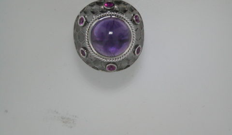 10ct amethyst ladies ring set in antiqued sterling silver with 6 rubies =.54ct  style 321-0068  $1275.00