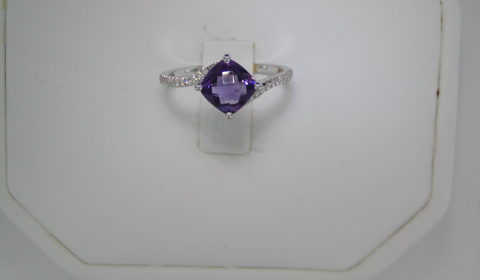 .90ct amethyst checkerboard cut ladies ring set in 14kt white gold with 22 diamonds =.11ct  style 950-0078  $825.00