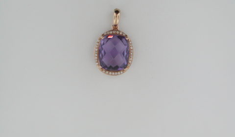 5.10ct amethyst checkerboard cut pendant set in 18kt rose gold with 32 diamonds =.20ct with 18in chain.  style 135-0085  $1075.00