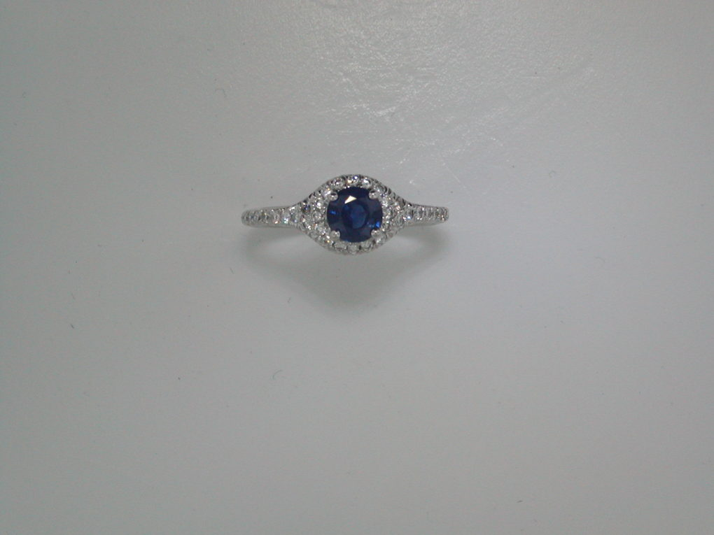 .75ct sapphire ladies ring in 14kt white gold with 34 diamonds =.35ct  style 135-0089 $2050.00