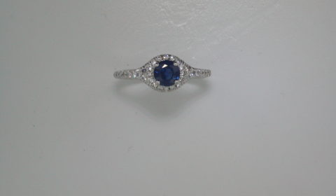 .75ct sapphire ladies ring in 14kt white gold with 34 diamonds =.35ct  style R5374WSWN501 $2050.00