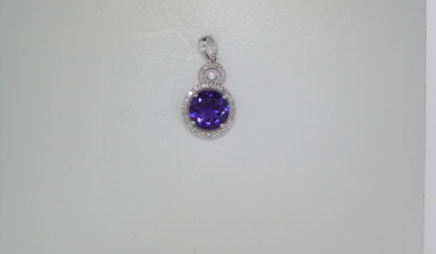 1.69ct amethyst pendant set in 14kt white gold with 29 diamonds =.12ct with 1.1mm 14kt white gold 18in chain  style 223-0092 $800.00