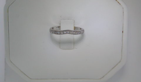 Curved wedding band set in 14kt white gold with 13 diamonds =.07ct style 720-0098 $550.00