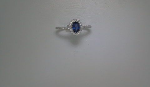 .54ct blue sapphire ladies ring in 18kt white gold with 40 diamonds =.24ct  style 135-0117  $1600.00