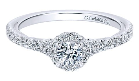 .18ct G-SI1 Halo bridal set, set in 14kt white gold with 63 diamond =.39ct with matching wedding band  style 405-0141  $2650.00