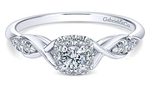 .10ct H-SI1 halo bridal set, set in 14kt white gold with 31 diamonds =.28ct with matching band  style 405-0142  $2100.00